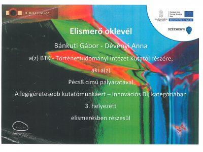 Pécs8.Innovációs díj. oklevél