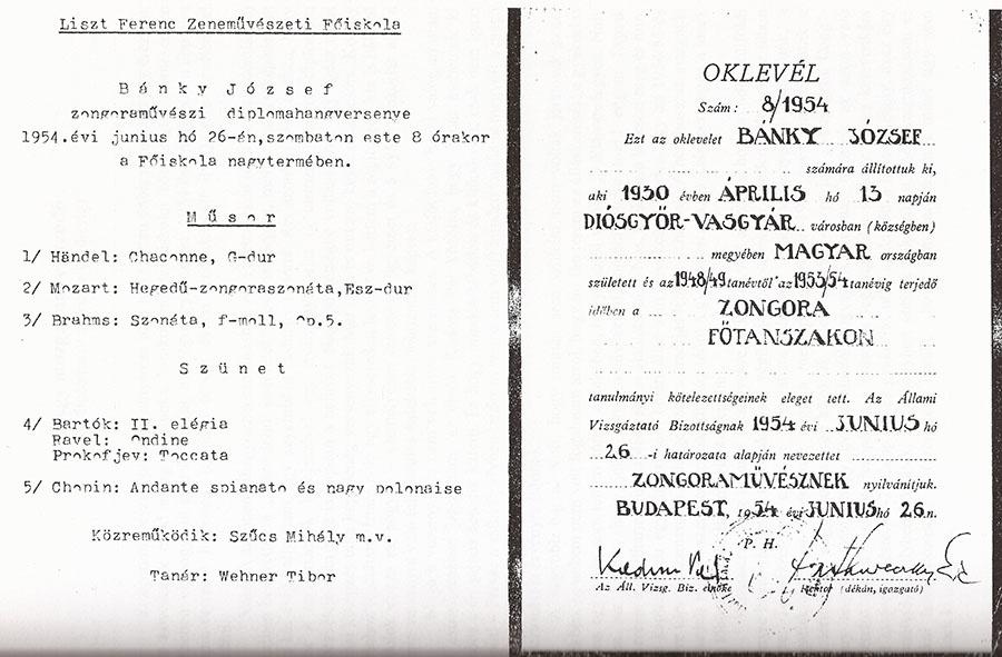 Diploma és koncertprogram. (Forrás: Bánky József magángyűjteménye)