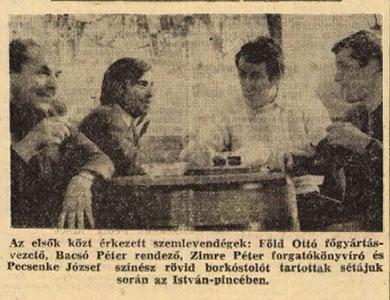 A filmszemle sztárvendégei az István Pincében 1969-ben (Forrás: Dunántúli Napló)