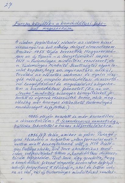 Részlet Uherkovich Gábor tudományos életrajzából