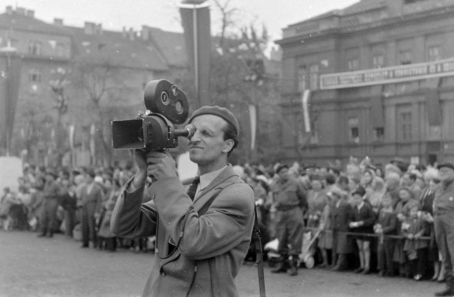 Knoll István forgatás közben, 1958. Fortepan 14230/1958. (Szent-Tamási Mihály)
